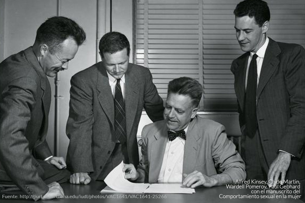 Alfred Kinsey, Clyde Martin, Wardell Pomeroy, Paul Gebhard with manuscript pages from the female volume