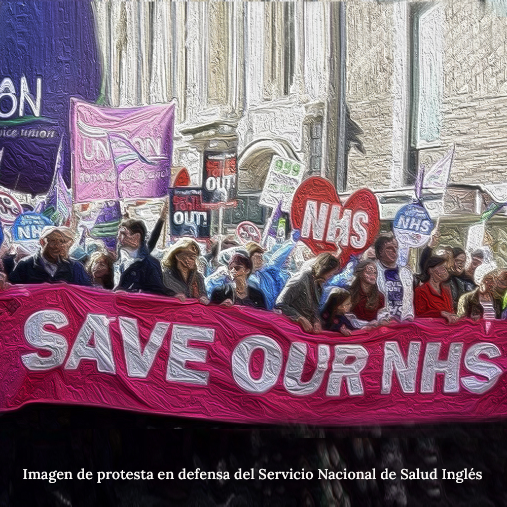 Imagen de protesta en defensa del Servicio Nacional de Salud Inglés